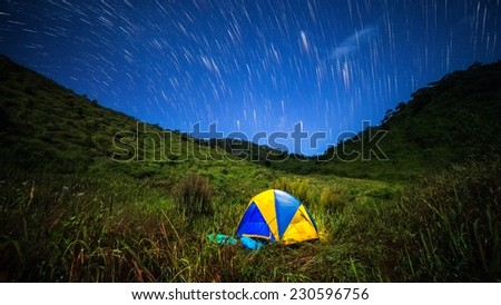 Camping at night with stars - stock photo