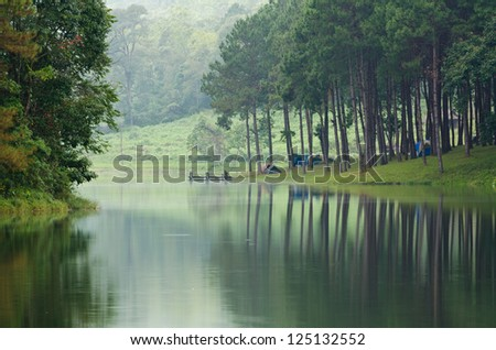 Camping at Pang Ung. Beautiful forest lake in the morning. Mae Hong Son. Thailand - stock photo