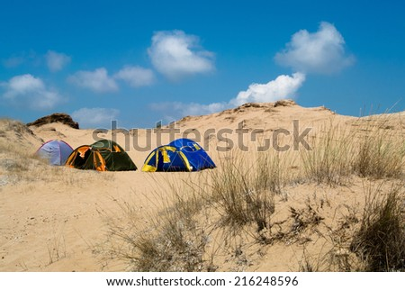 Camping between the desert dunes on the beach