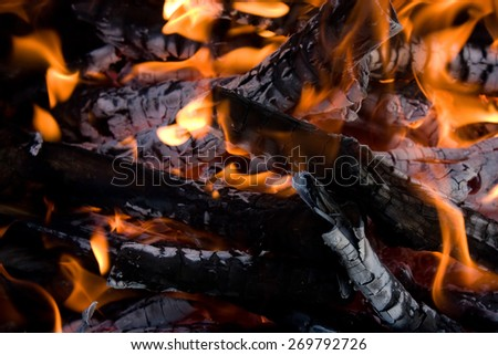 Camping bonfire with flame and firewood fragment close-up view in dark - stock photo