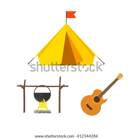 Camping equipment set isolated on white background, camping icons flat style, camping tent, campfire cauldron, camp fire cartoon illustration design image - stock photo