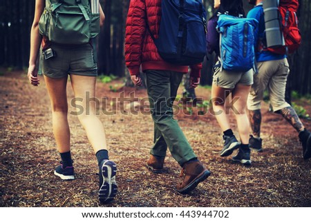 Camping Friendship Walking Backpacker Direction Concept - stock photo