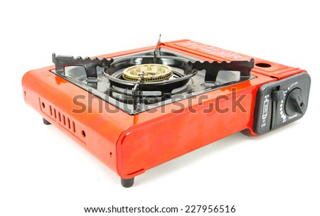 Camping gas stove isolated on white - stock photo