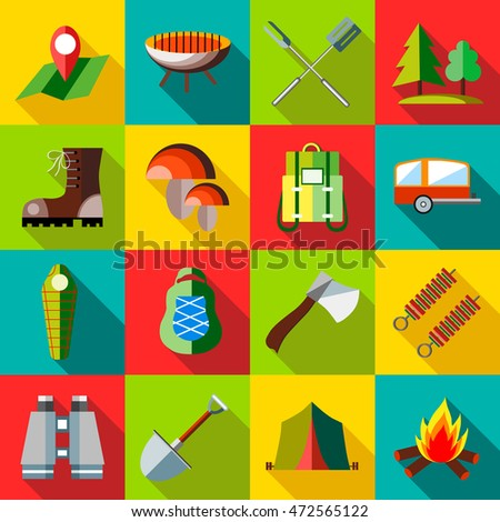 Camping icons set in flat style. Recreation tourism set collection  illustration