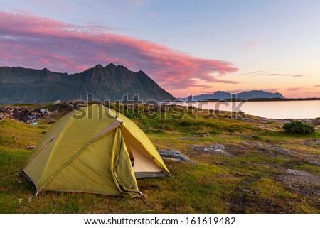 camping in Lofoten island,Norway - stock photo
