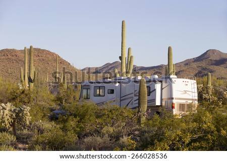 Camping in Saguaro forest in Arizona, USA - stock photo