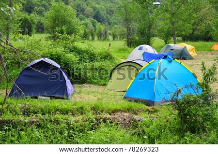 camping in spring - stock photo