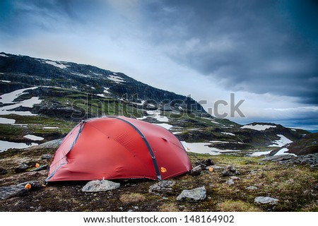 Camping in the Hardangervidda in Norway - stock photo