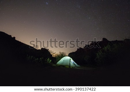 Camping in the Superstition Wilderness - stock photo