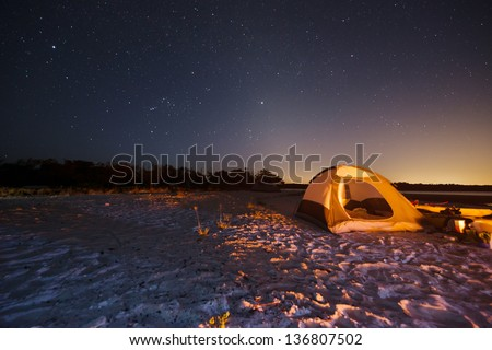 Camping in the Ten Thousand Islands in the Everglades - stock photo