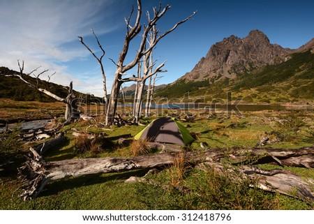 Camping in wild Patagonia, Isla Navarino, Chile - stock photo