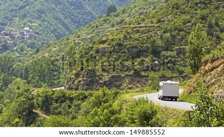 Camping, motorhome on the move, vacation in France. - stock photo