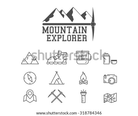 Camping mountain explorer camp badge, logo template. Travel, hiking, climbing line icons. Thin and outline design. Outdoor. Best for adventure sites, travel magazine etc. On white background.  - stock photo