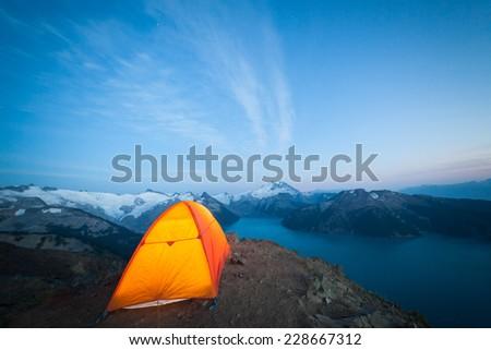 Camping on High Peak - stock photo