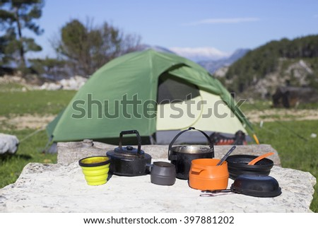 Camping on the mountain top. - stock photo