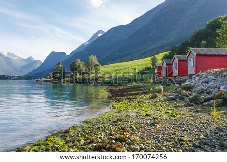 Camping on the shore of Nordfjord, Norway - stock photo