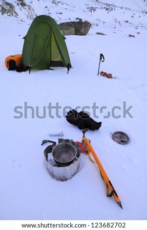 Camping on the snow, Retezat mountains, Romania