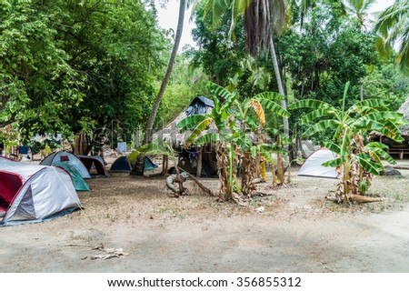 Camping site in Tayrona National Park, Colombia - stock photo