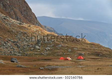 camping site in the Carpathian Mountains, Romania - stock photo