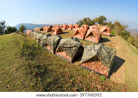 Camping tent at View at doi samer dao at Sri Nan national park, Nan ,Thailand - stock photo