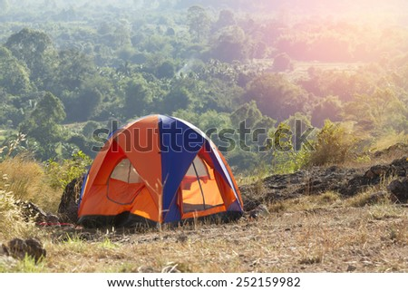 Camping tent in campground at national park. inThailand - stock photo