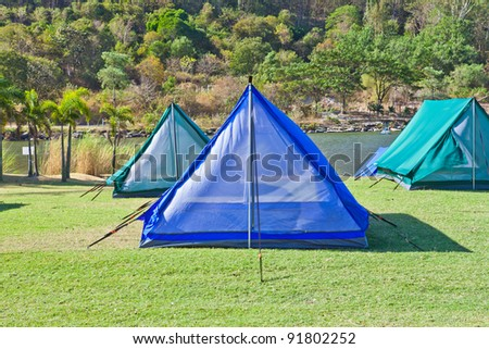 Camping tent in the mountains