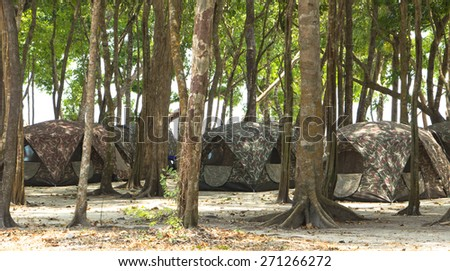 Camping Tents at Campground - stock photo