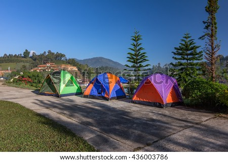 Camping Tents  with Blue Sky in Thailand - stock photo