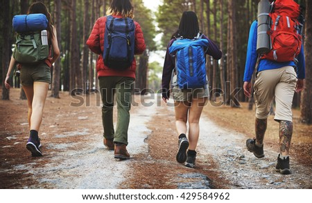 Camping Trekking Friendship Backpacker Explore Concept - stock photo