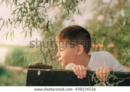 Camping under the trees at the wooden fence a little boy playing with a frog - stock photo