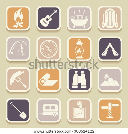 Camping universal icons for web and mobile applications. Raster version