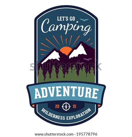 Camping wilderness adventure badge graphic design emblem - stock photo