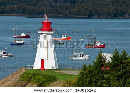 Campobello Island Lighthouse, New Brunswick. - stock photo