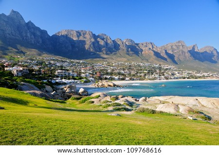 Camps Bay Beach, Cape Town, South Africa - stock photo