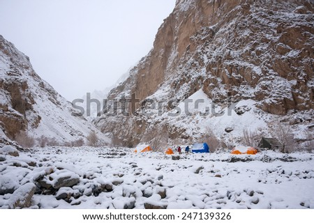 Campsite, Chadar Trek or Trekking on Frozen Zanskar River, Ladakh, India - stock photo
