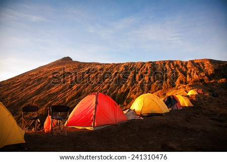 Campsite on Rinjani Rim, Lombok, Indonesia - stock photo