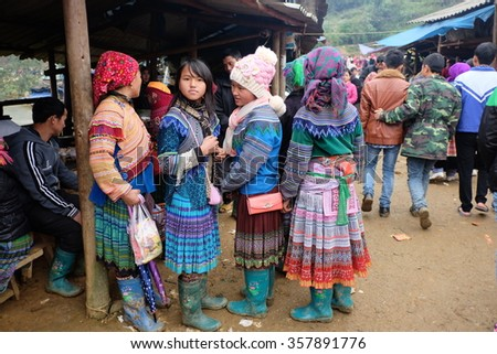 CAN CAU MARKET, SIMACAI TOWN, LAO CAI, VIETNAM - JANUARY 2016 : Can Cau is a busy market held every Saturday. There're minority Vietnamese peoples and even Chinese people from across the border.