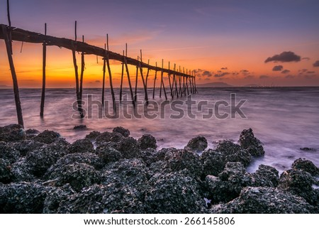 CAN GIO, VIET NAM - MARCH 29, 2015 : Sunrise at Can Gio, Ho Chi Minh City ( Saigon ), Vietnam - stock photo