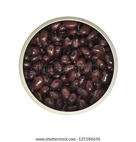 Can of black beans isolated from above. - stock photo