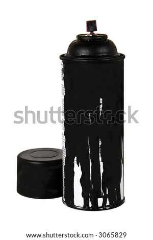 can of black spray paint with lid on white background - stock photo