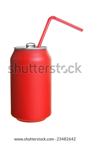 Can of cola with straw isolated over white background - stock photo