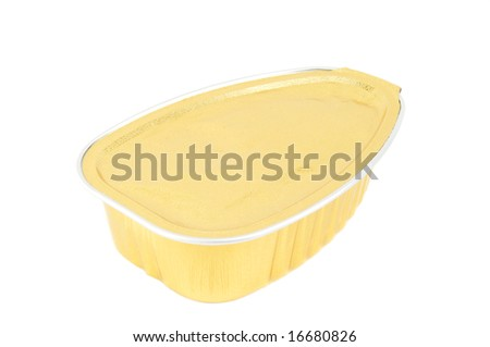 Can of foil. Golden color. Isolated on a white background - stock photo