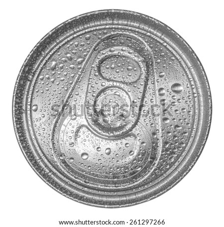 can of soda with water drops. Top view. Clipping path included - stock photo