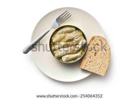 can of sprats on white background - stock photo