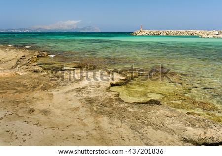 Can Picafort city at Mallorca, beach and sea - stock photo