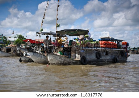 CAN THO,VIETNAM-APRIL 14: Cai Rang Floating Market, 6km from Can Tho,  most famous and biggest floating market in Mekong Delta with hundreds of boats packed on April 14, 2012 in Can Tho, Vietnam.""