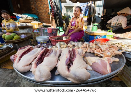 CAN THO, VIETNAM, DECEMBER 11, 2014: A woman is selling duck and poultry in the street beside the Tan An market in Can Tho city, Vietnam. - stock photo