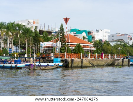Can Tho, Vietnam - Nov 30, 2014: Ninh Kieu boat station viewing from river side, in Can Thoi city