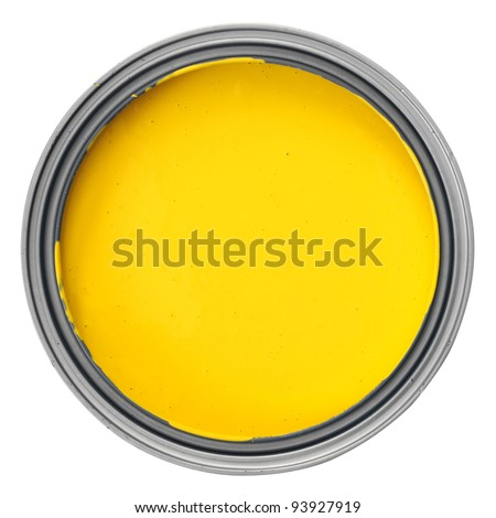 can with yellow paint over white background, clipping path - stock photo
