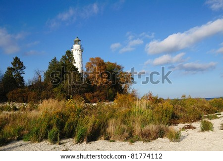Cana Island Lighthouse Door County, Wisconsin - stock photo